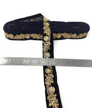 Load image into Gallery viewer, Navy Blue Velvet Ribbon With Gold Trim