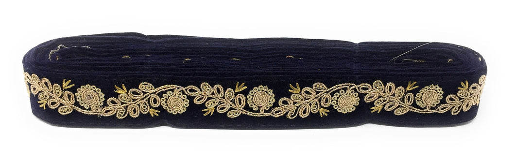 navy blue velvet ribbon with gold trim