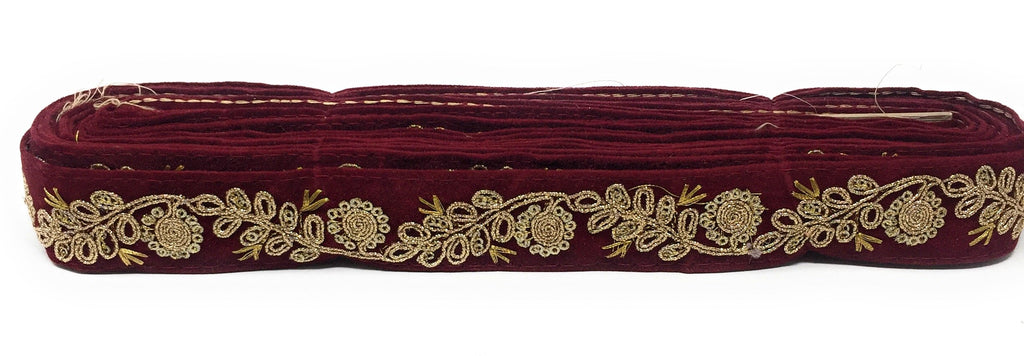 maroon velvet ribbon with gold trim