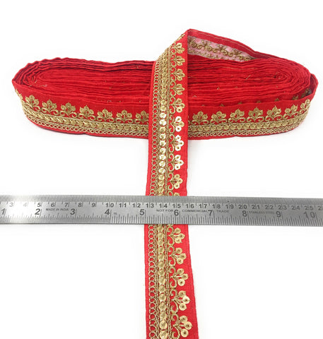 Red Trim Fabric With Gold Sequins Embroidery