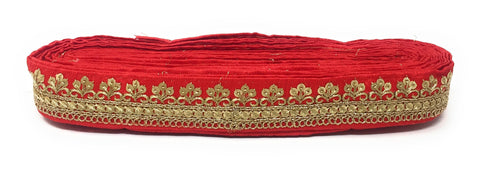red trim fabric