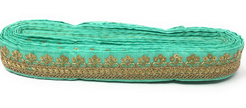 Image of turquoise fabric border