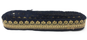navy blue and gold fabric trim
