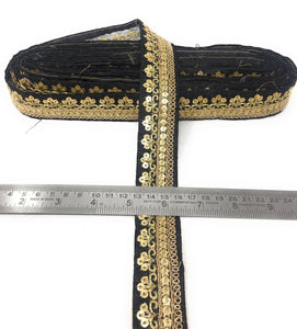 Black Fabric Trim With Gold Sequins Embroidery