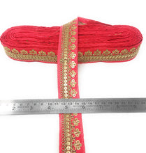 Load image into Gallery viewer, Hot Pink Fabric Trim With Gold Sequins Embroidery