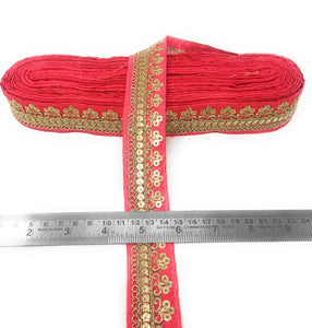 Hot Pink Fabric Trim With Gold Sequins Embroidery