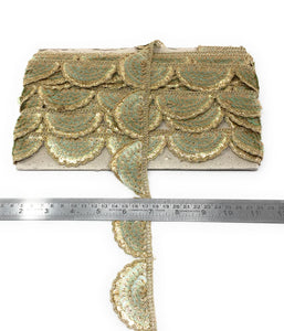 Scalloped Lace Trim - Sea Green, 1.5 Inch Wide