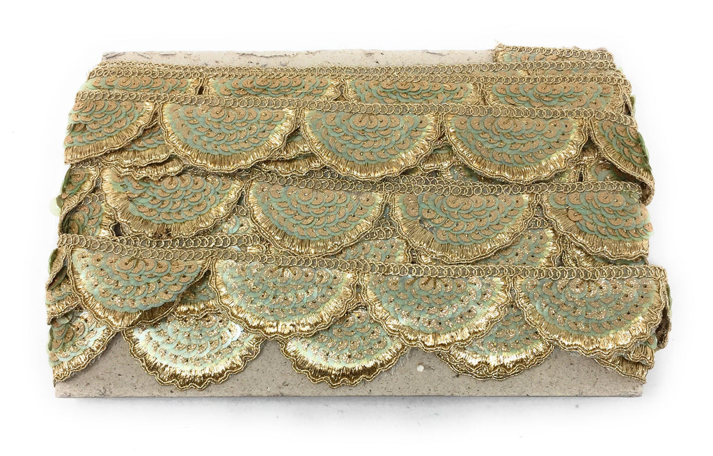 scalloped lace trim - sea green