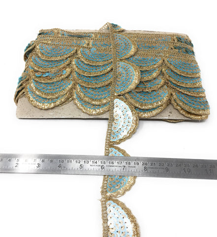 Scalloped Lace Trim - Sky Blue, 1.5 Inch Wide