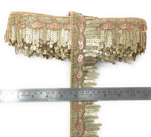 Load image into Gallery viewer, New Design Lace In Peach With Sequins And Embroidery