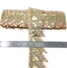 Load image into Gallery viewer, New Sequins And Embroidery Lace Design In Peach