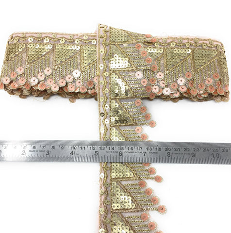 New Sequins And Embroidery Lace Design In Peach