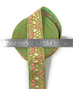 Decorative Trim In Pastel Green Fabric With Sequins, Gota Ad Embroiery
