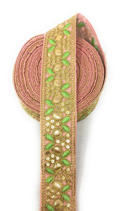 Pink Gota Patti Saree Borders with Gold and Green Work, 2 inch wide