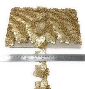 Flower Lace Border In Gold Colour Applique Style