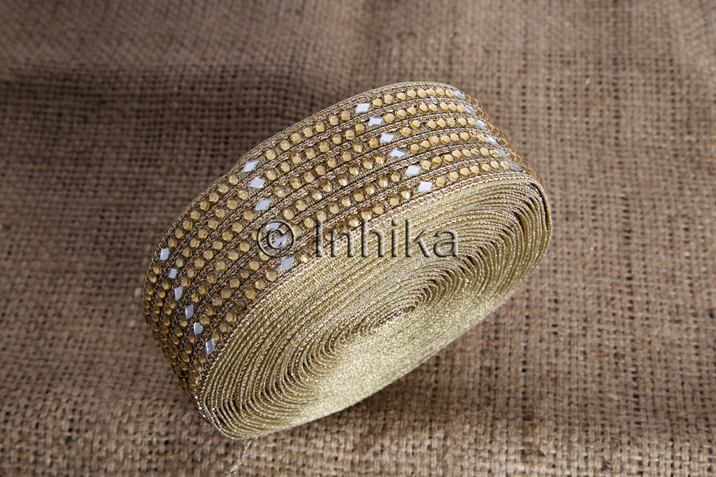 Gold Beaded Mirror Applique Lace | Polyester Fabric | 2 Inch Wide | 9 Meter Roll - Inhika.com