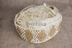 Cream Pearl Gold Beaded Sequined Saree Lace