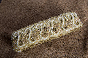 Gold Pearl Cutwork Paisley Beaded Edging Lace | Cotton Mix | 2.6 inch wide | 9 Meter trim