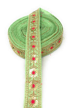 Load image into Gallery viewer, Gota Patti Lace Border in Pista Green,1.5 inch wide