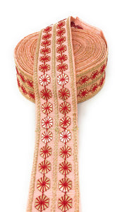 Gota Patti Lace for Saree in Peach, 2 Inch Wide Sewing Trim