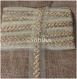 Gold Zari Embroidered Beaded Saree Border | Net Mesh Fabric | 1.6 Inch Wide | 9 Meter Roll