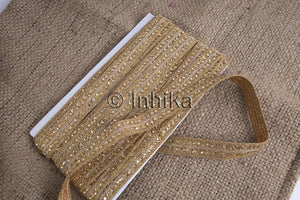 Bright Gold Embroidered Beaded Braided Lace | Polyester Fabric | 1 inch wide | 9 Meter Roll - Inhika.com