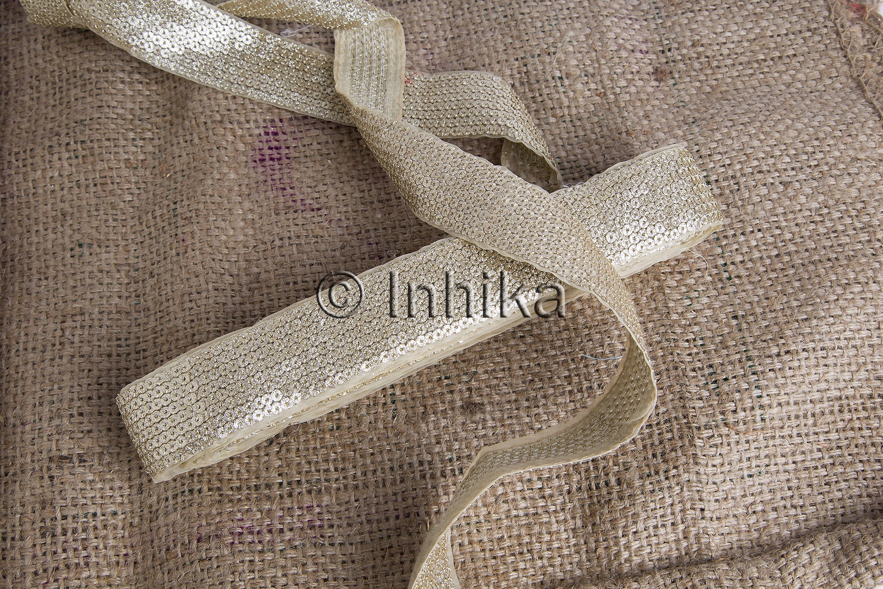 Dull Gold Shiny Embroidered Sequin Trim | Tissue Fabric | 1.6 inch wide | 9 Meter Roll - Inhika.com