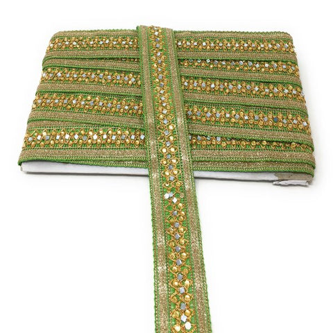 Image of 9 Meter (Yard) Roll of Lace  Green Thread Base Silver Glitter On Edges Gold Embroidered Mirror N Stone Work Thread Base