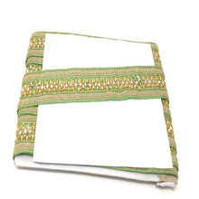Load image into Gallery viewer, 9 Meter (Yard) Roll of Lace  Green Thread Base Silver Glitter On Edges Gold Embroidered Mirror N Stone Work Thread Base