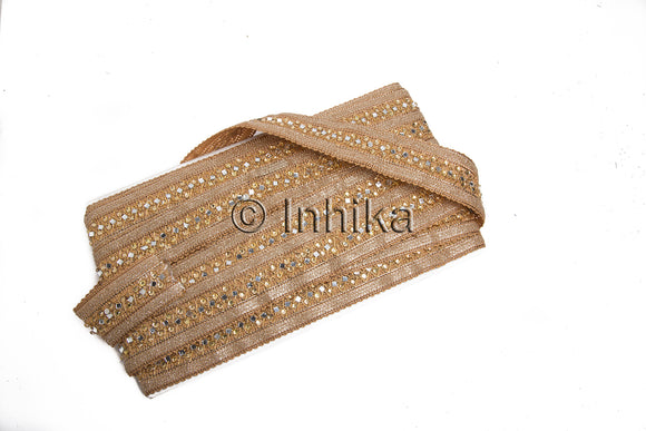 Gold Silver Embroidered Mirror n Bead Border