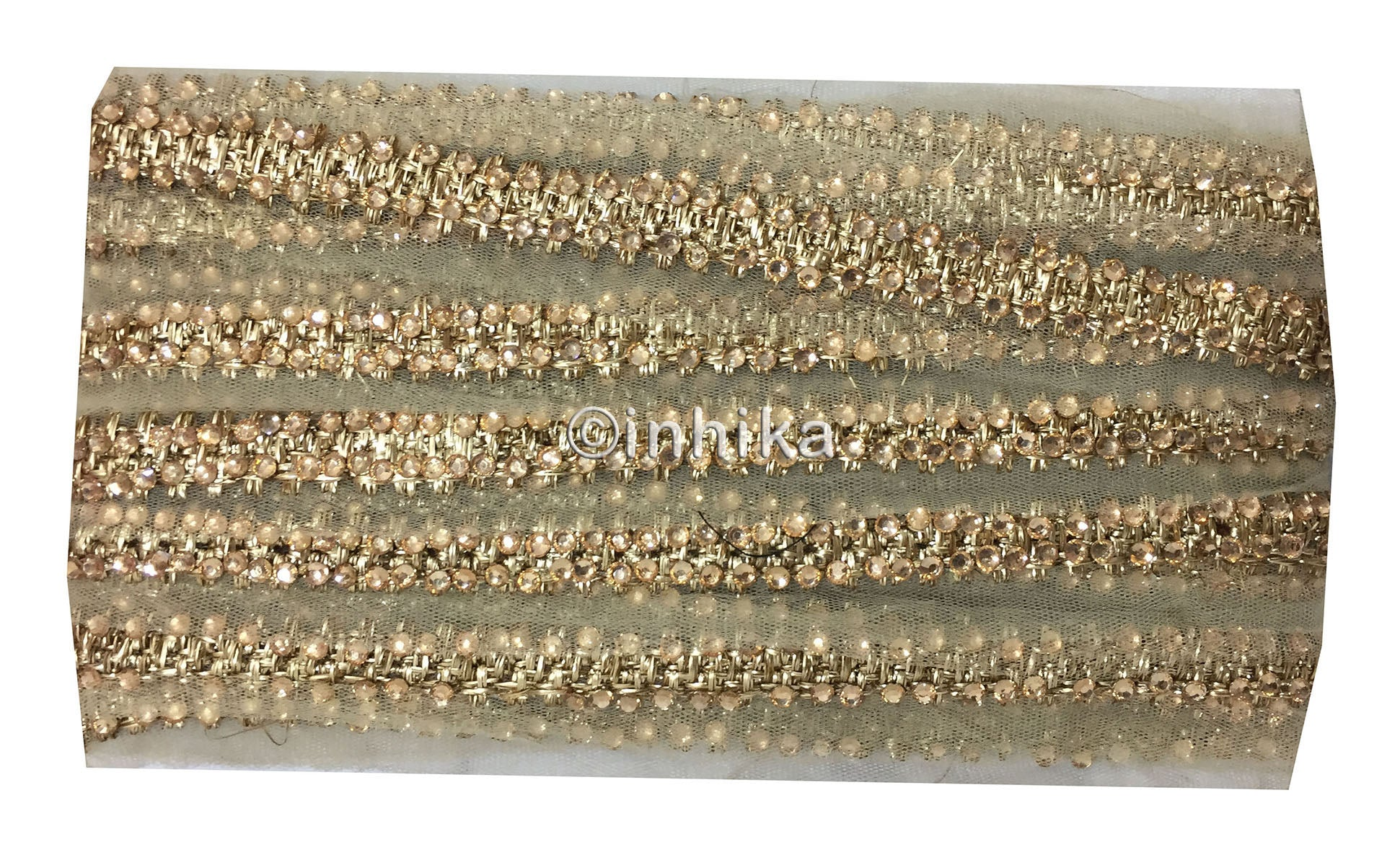Gold Embroidered and Beaded Trim For Dresses | Net Fabric | 2 inch Wide| 9 Meter Roll - Inhika.com
