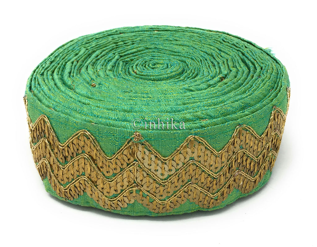 9 Meter (Yard) Roll of Lace  Sea Green Dupion / Cotton Mix Base Gold Sequins And Embroidery In 3 Row of Waves Stitched Together Cotton Mix Dupion