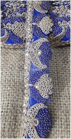 Image of 9 Meter (Yard) Roll of Lace  Silver Gold Blue Interwoven Embroidery Net