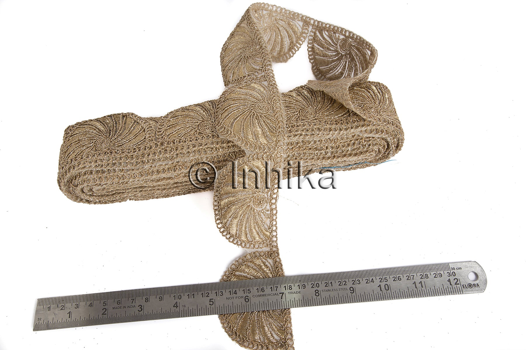 Copper Embroidered Scallop Lace | Net Mesh Base | 2 inch wide| 9 Yard Trim Roll - Inhika.com