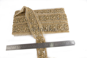 Gold Floral Applique Beaded Trim | Net Mesh Fabric | 1.7 inch wide | 9 Meter Roll - Inhika.com