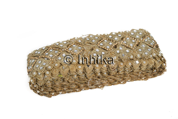 Edging Cutwork Trim with Mirror Stone n Pearl Work | Tissue Fabric | 3.1 inch | 9 Yard Bolt