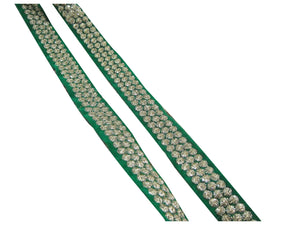 9mtr border lace trim, velvet green base, 3 row gold embroidery n sequins - Inhika.com