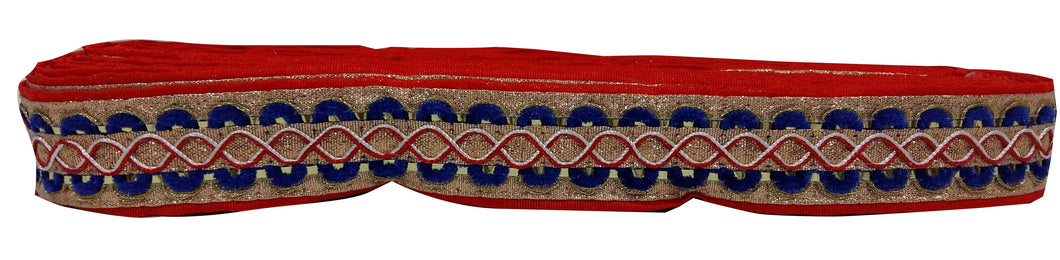 red embroidered lace