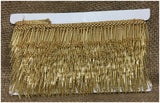 Gold Beaded Tassle Fringe Trim | Bead Pipe Material | 1.6 inch Wide | 9 Meter Bolt - Inhika.com