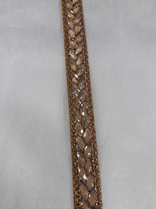 Bronze Gold Beaded Appliques for Dresses | Polyester Fabric | .5 inch Wide | 9 Yard Bolt - Inhika.com