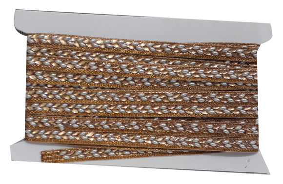 Gold n Pearl Beaded Fabric Trim Tape