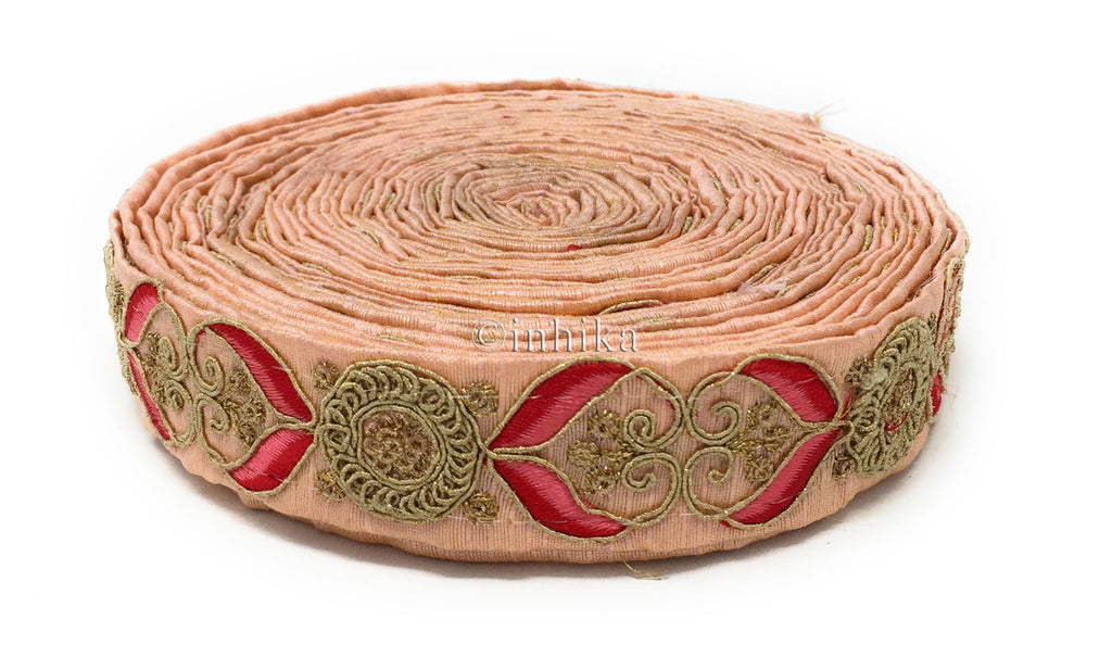 9 Meter (Yard) Roll of Lace Saree Border Applique Pink Dupion Silver Sequins Embroidery Red Pink
