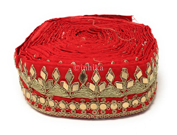 9 Meter (Yard) Roll of Lace Red Dupion Silver Gold Pyramid Embroider Real Mirror