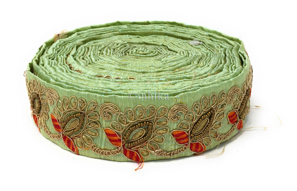 9 Meter (Yard) Roll of Lace Sea Green Dupion Silver Gold Red Orange Embroidery