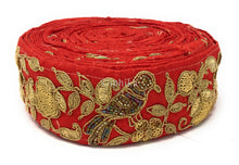 Load image into Gallery viewer, 9 Meter (Yard) Roll of Lace  Red Cotton Mix Parrot Gold Multicolour Beads
