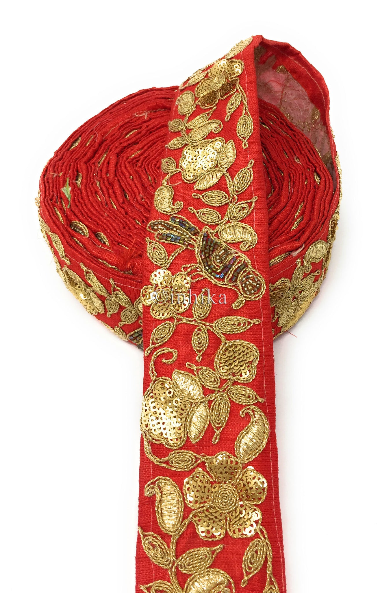 9 Meter (Yard) Roll of Lace  Red Cotton Mix Parrot Gold Multicolour Beads