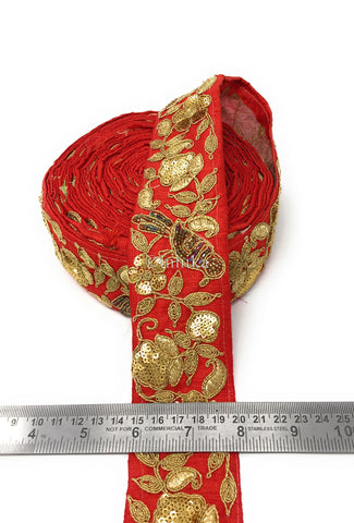 Image of 9 Meter (Yard) Roll of Lace  Red Cotton Mix Parrot Gold Multicolour Beads