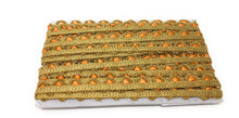 Load image into Gallery viewer, Orange Gold Thin Scalloped Lace Trim By The Yard 9 Meter