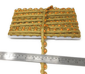 Orange Gold Thin Scalloped Lace Trim By The Yard 9 Meter