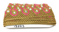Pink Gold Mirror Lace Border  9 Meter